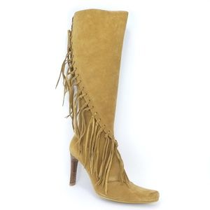 Mia Metcalf Fringed Leather Tall Heeled boots